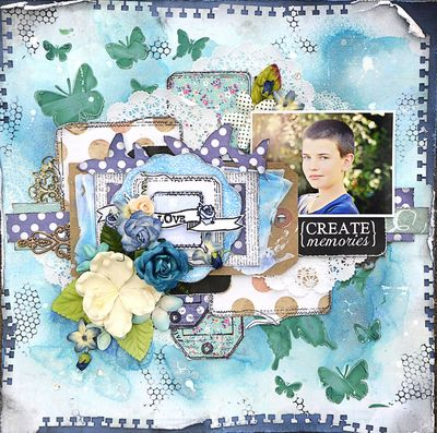 Blue Butterfly Tag Layout